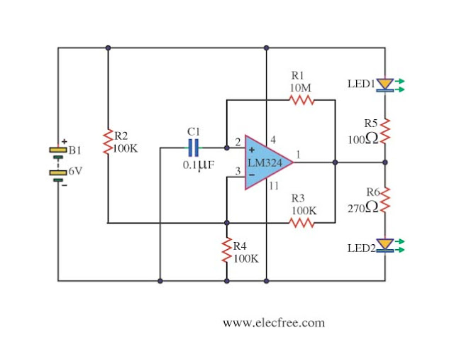 LED blinking circuit with Op-amp