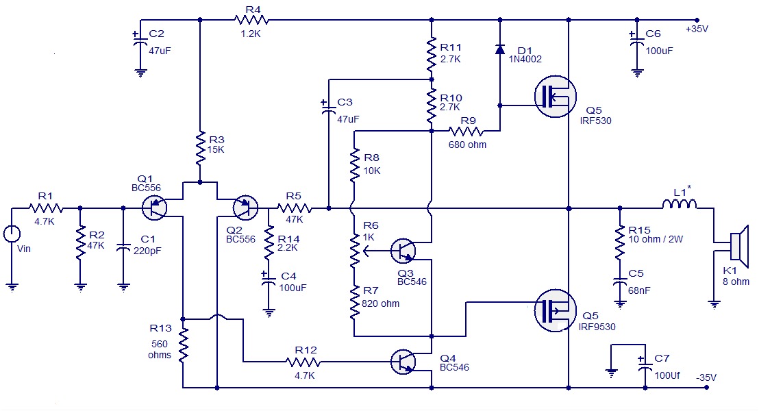 Wiring Schematic Diagram  50 Watts Mosfet Audio Amplifier