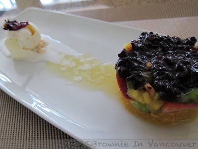coconut ice cream, black rice pudding, fresh fruit