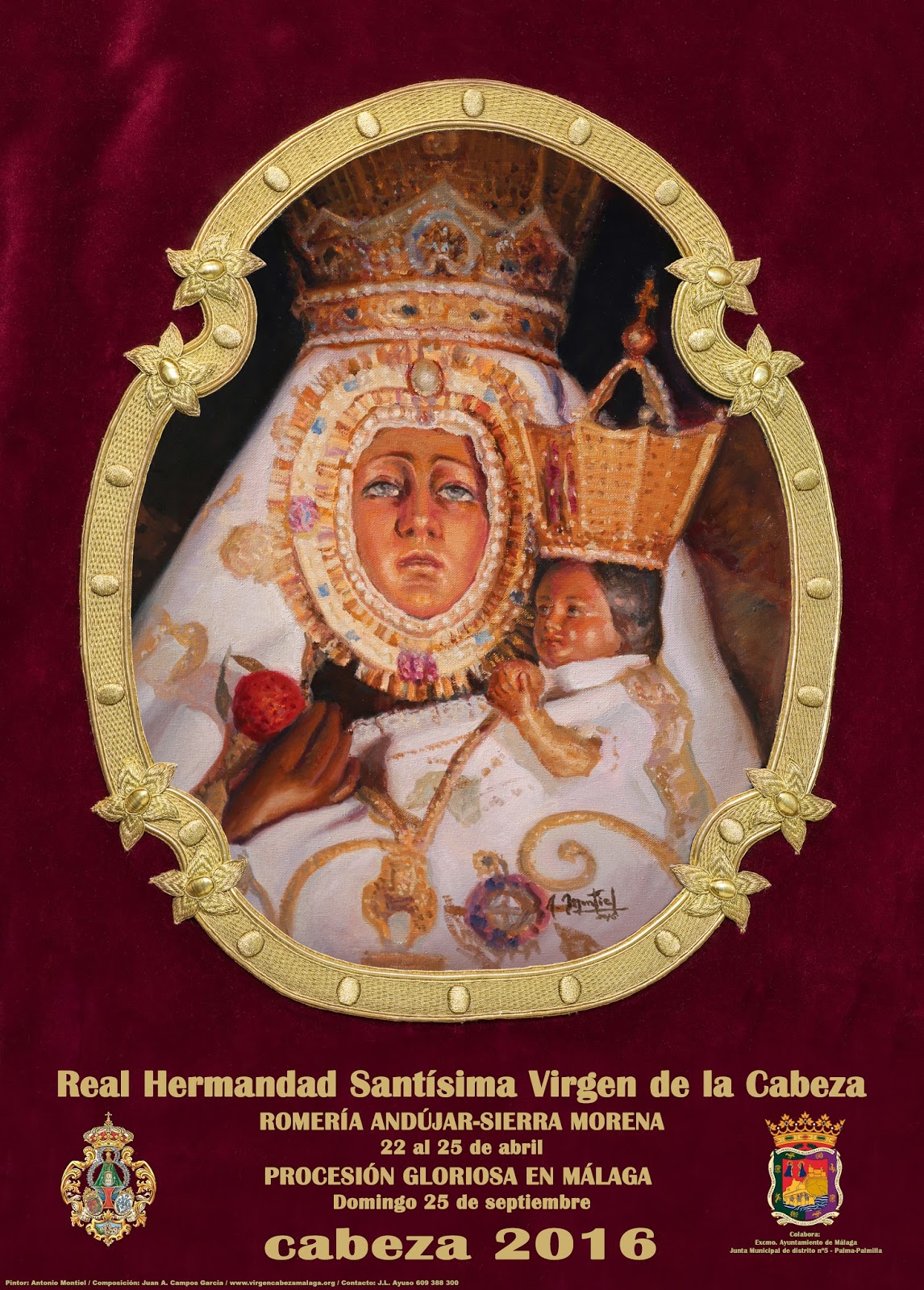 """CARTEL DE ROMERÍA Y PROCESIÓN """"CABEZA 2016"""" HDAD. DE MÁLAGA."""