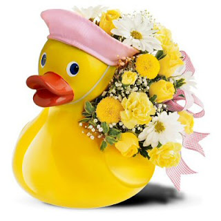 Send Baby Girl Congratualtion Flowers in a Ceramic Duck with the Teleflora Just Ducky Bouquet