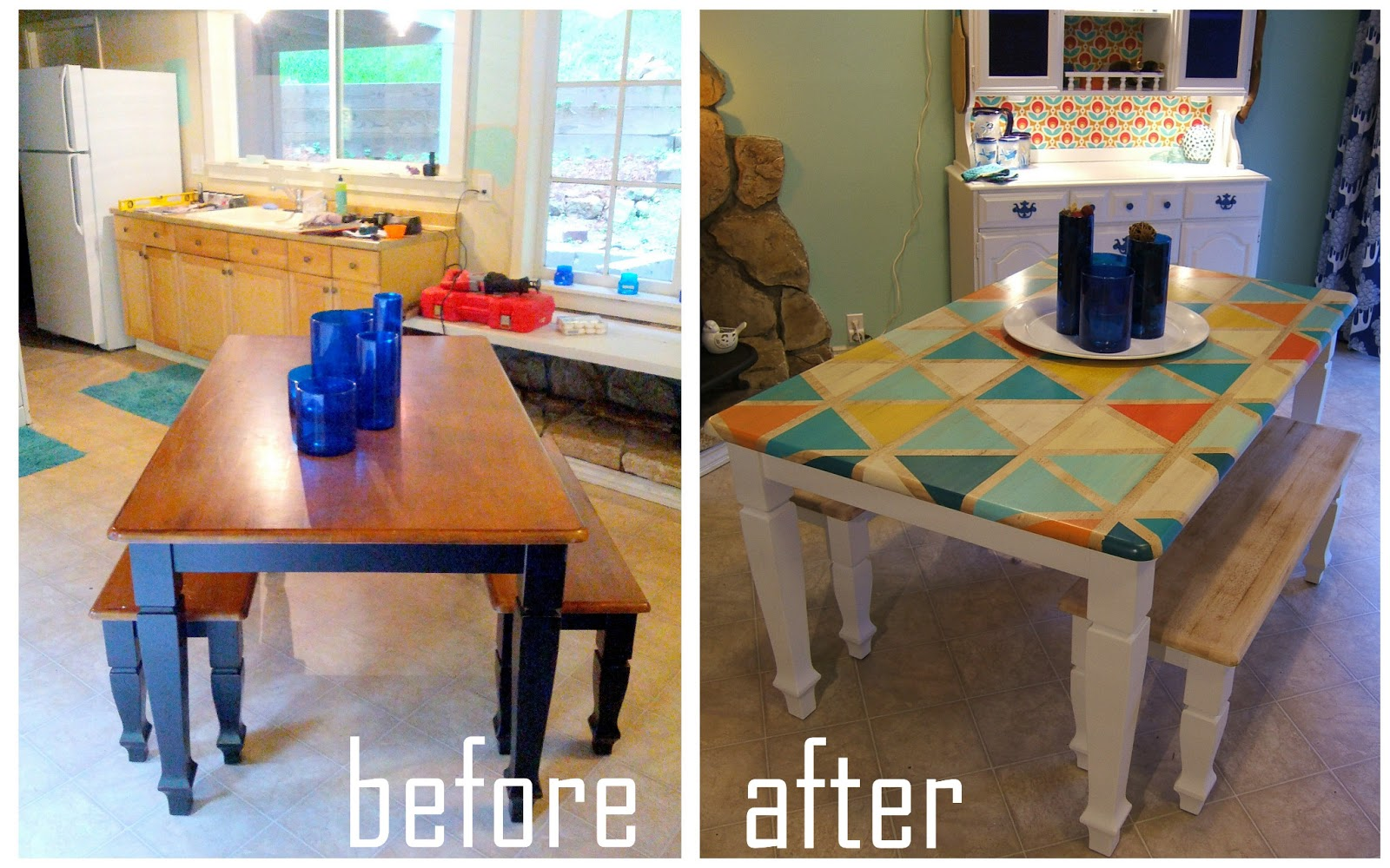Ideas For Painting A Kitchen Table Part - 21: How To: DIY Triangle Pattern Kitchen Tabletop