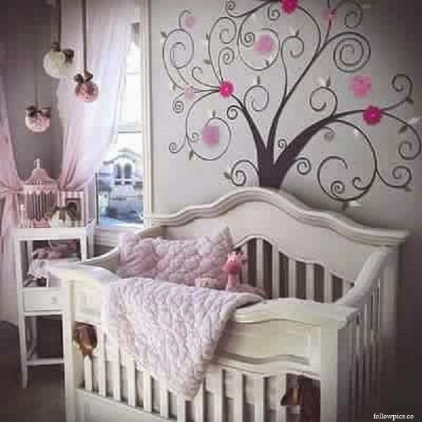 D co chambre b b fille gris rose b b et d coration for Decoration murale chambre fille