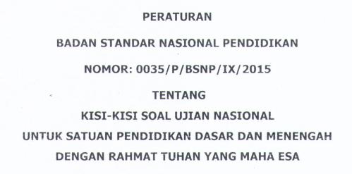Kisi Kisi (UN) Ujian Nasional 2016