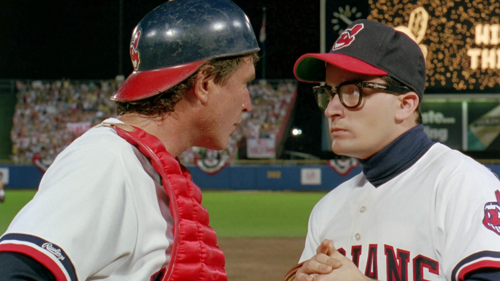 Jake Taylor and Rick Vaughn confer in 'Major League'