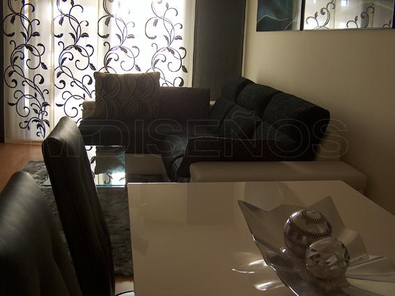 Piso Completo Salon Comedor En Colores Vison Blanco Negro Y Gris - Salones-con-sofa-negro