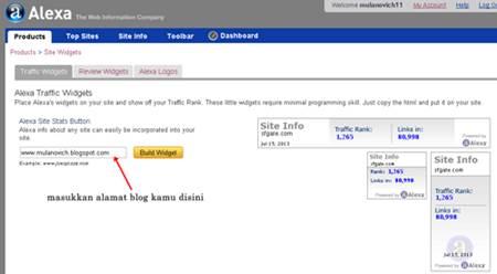 """Masukkan alamat blog dan klik """"Build Widget"""""""