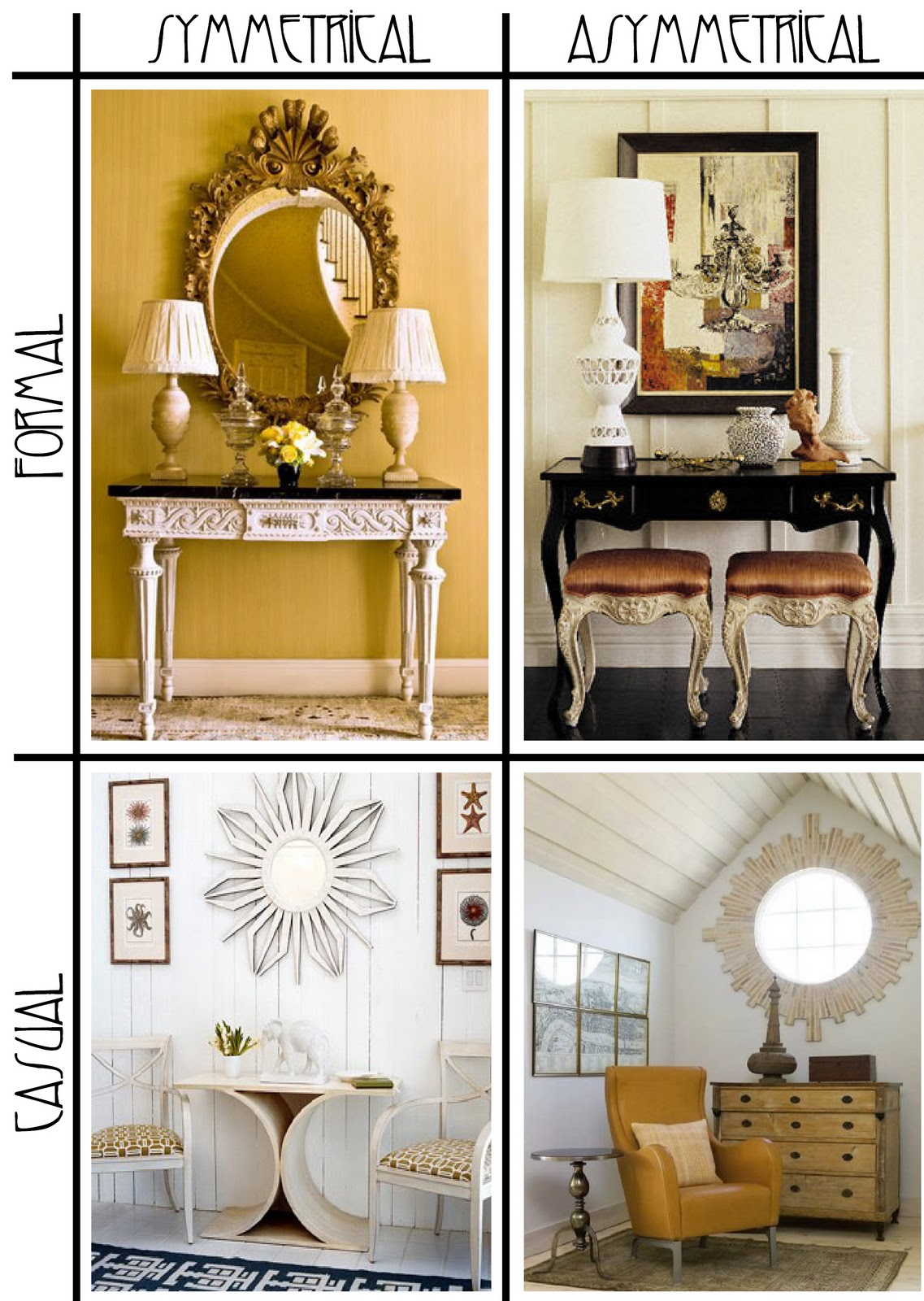 Divine consign symmetrical vs asymmetrical design for Asymmetrical balance in interior design