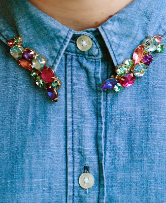 Multicolored jeweled hairclips worn on chambray shirt as collar jewelry