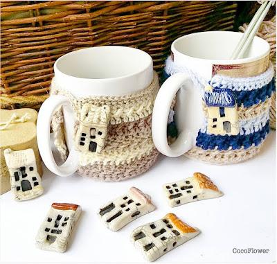 wool crocheted Cozy Mug with House artisanal ceramic button - www.cocoflower.net
