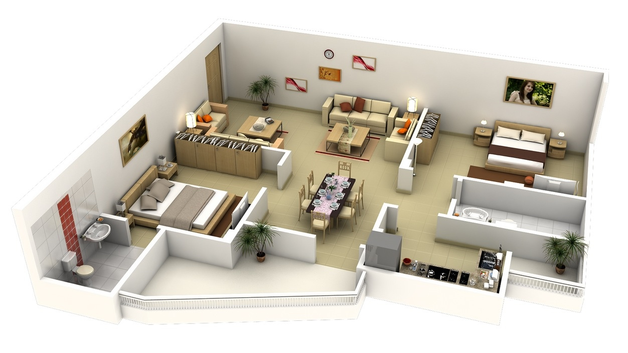 50 3d floor plans lay out designs for 2 bedroom house or for Interior design for 2 bed flat