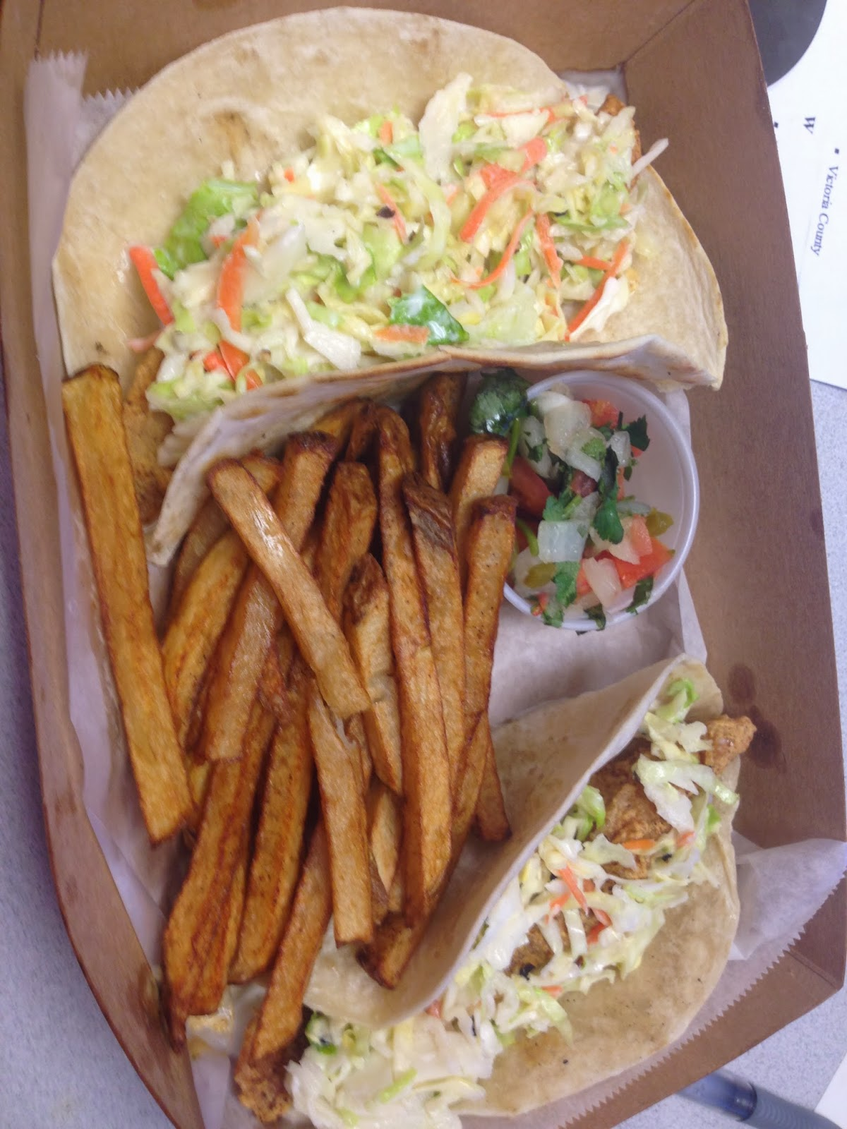 Perfeckcatch, Catfish Tacos w/slaw and Fries, Houston TX