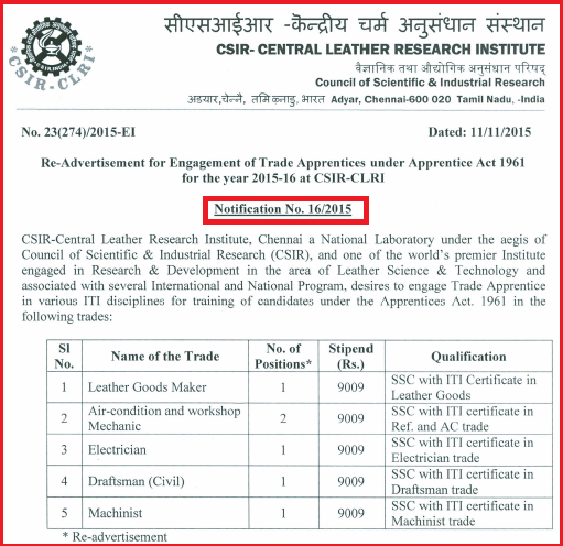 CSIR CLRI Trade Apprentice Job Advertisement November 2015