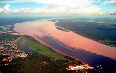 Imagem aérea do encontro das águas - Manaus