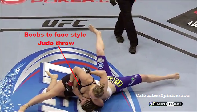 Ronda Rousey boobs cleavage vs. Alexis Davis in UFC 175