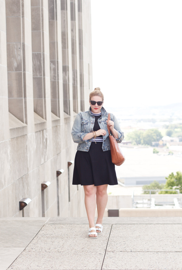 summer dress into fall outfit idea