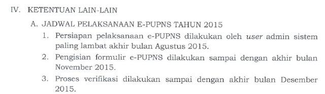 Jadwal epupns di Perka BKN no 19 th. 2015