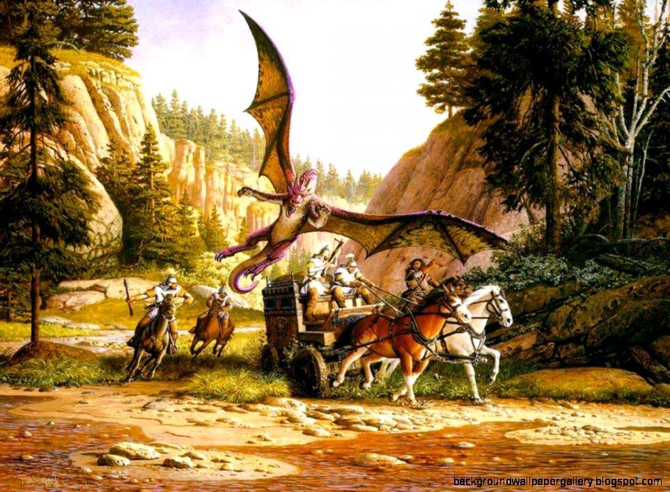 Dreamy Fantasy Battle Of Dragon Wallpaper