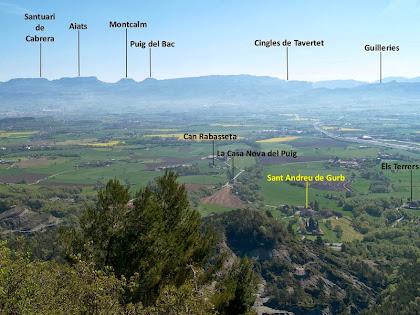 La Serra de Cabrera, els Cingles de Tavertet i les Guilleries des del coll de la Creu de Gurb