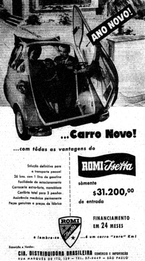 Propaganda da Romi-Isetta veiculada em 1958: 26 km com 1 litro de combustível.