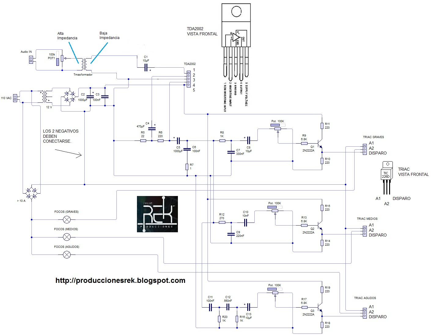 Circuito Luces Audioritmicas : Producciones rek diagramas y electronica luces ritmicas