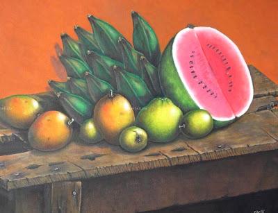 Pintura Al Oleo  Mesas Rusticas Y De Madera Con Frutas