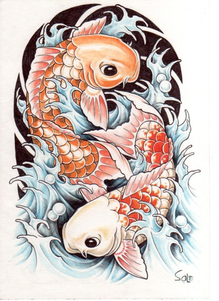 Asian koi fish art hot girls wallpaper for Japanese koi carp fish