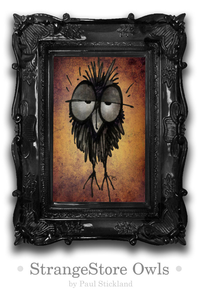 owls, funny owls, owl art, paul stickland, strangestore,