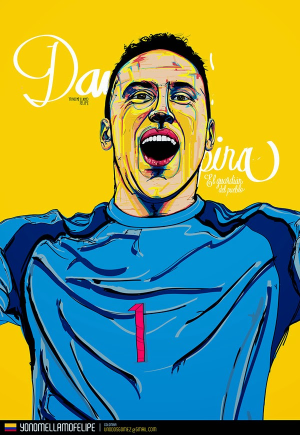 Ilustraciones de estrellas de fútbol de cara a Chile 2015