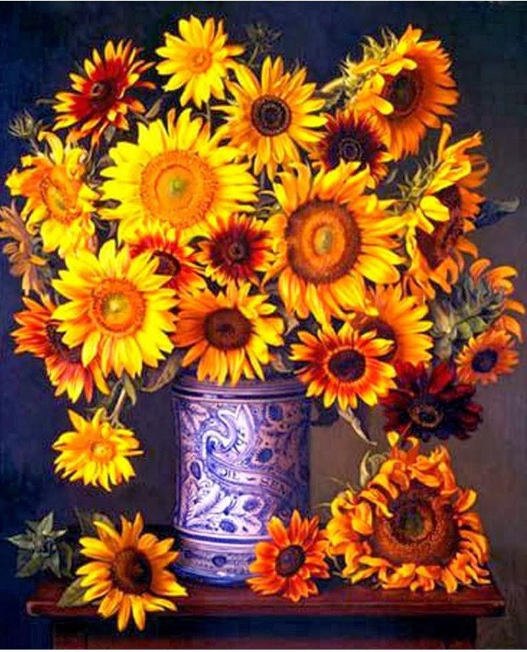 bodegones-realistas-con-flores-de-girasoles