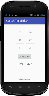Hasil Widget TimePicker Android