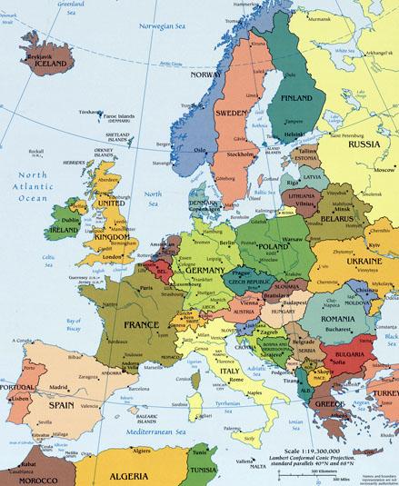 Mapa da Europa Político Regional Província Cidade