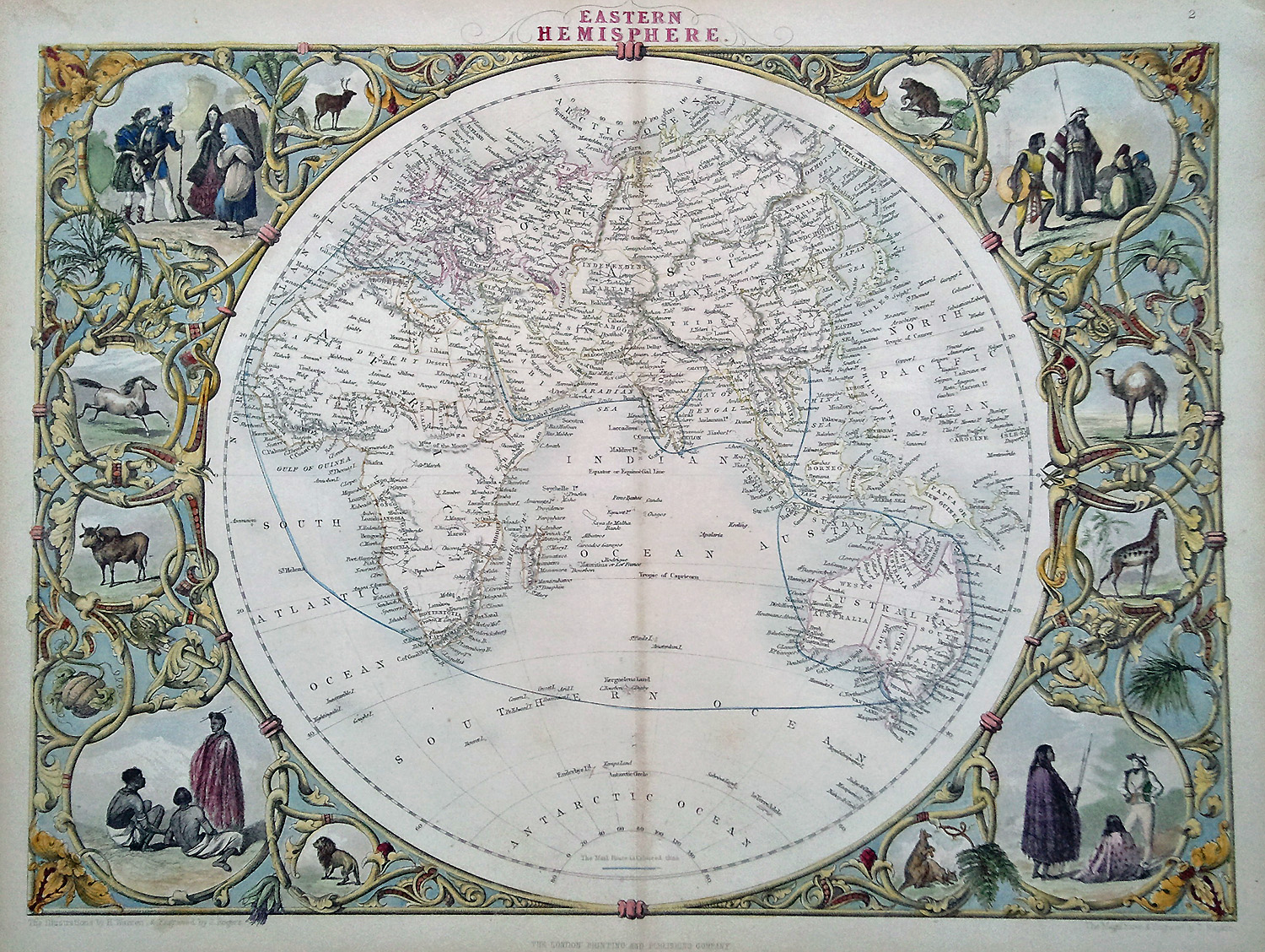 Antique Maps Decorative Antique Victorian Map Of The World - Victorian world map