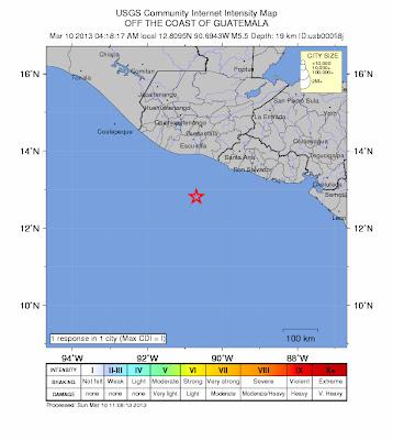 Epicentro sismo 5,8 grados, guatemala, 10 de Marzo 2013