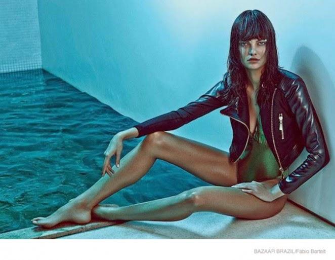 Barbara Fialho poses in swim looks for Harper's Bazaar Brazil January 2015