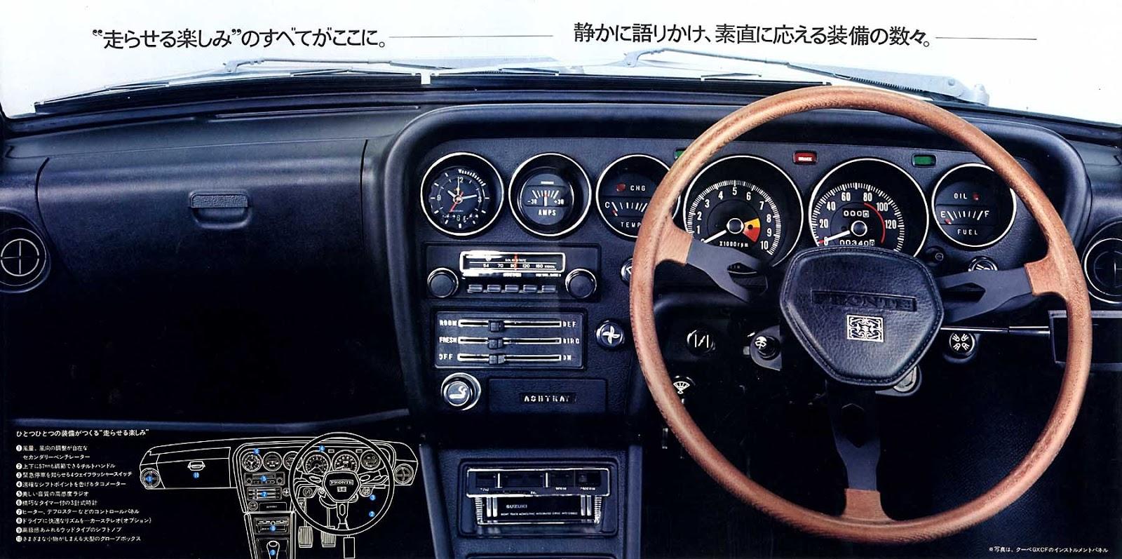 suzuki fronte coupe, lc10w, wnętrze, interior, mały samochód, klasyki z lat 70, wnętrza starych aut