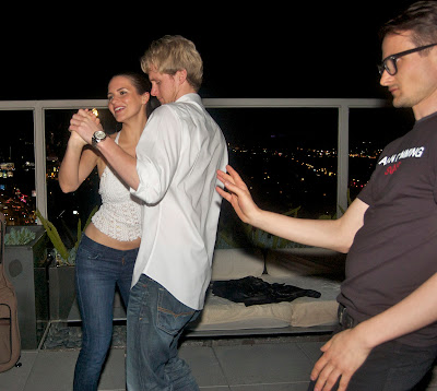 Salsa dancing on the roof of the Andaz Hotel