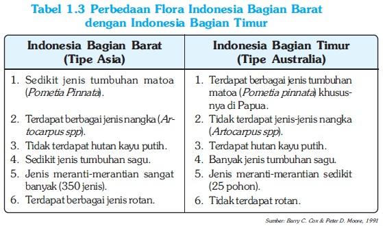 Perbedaan Flora Indonesia Bagian Barat dengan Indonesia bagian Timur