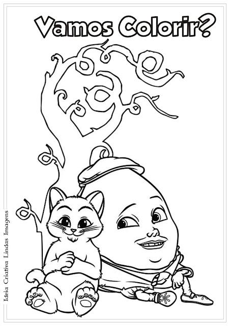 O Gato de Botas para colorir