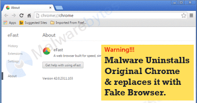 Chrome Browser lookalike Malware can delete and replace your Google Chrome Browser