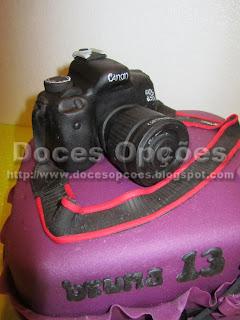 bolo maquina fotografica doces opções