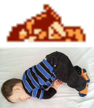 Our baby sleeps like the Simon Belmont death pose