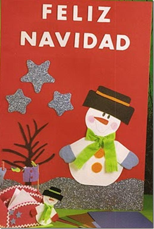 Manualidades navidad tarjetero en foami mono de nieve - Manualidades postales navidad ...