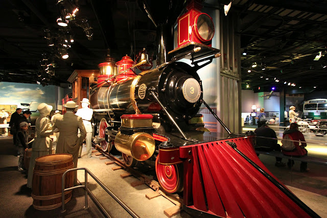 The model of steam locomotive, Jupiter running on the railway tracks at Santa Cruz, California on display at National Museum of American History in Washington DC, USA