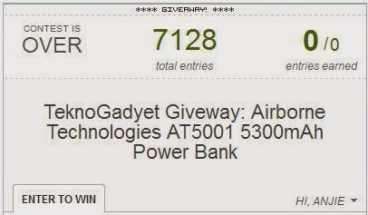 Airborne Technologies AT5001 5300mAh Power Bank Giveaway Winner