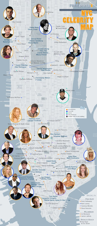 NEW YORK MAP of The STARS ...MOVIE STARS ...ROCK STARS ... ????