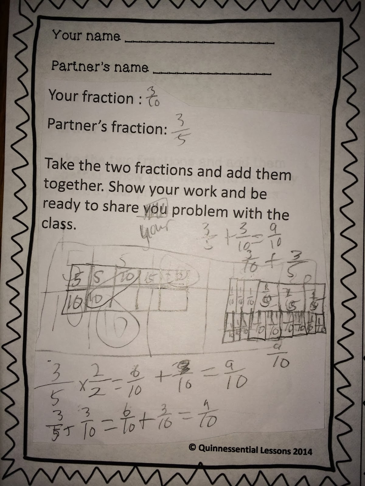 I Have Been Stressing How The Students Should Show And Label Their Work I  Love How What Happens When You Try To Add Fractions