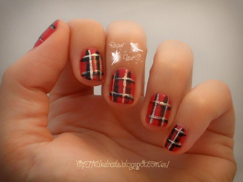 Tartan red nail art