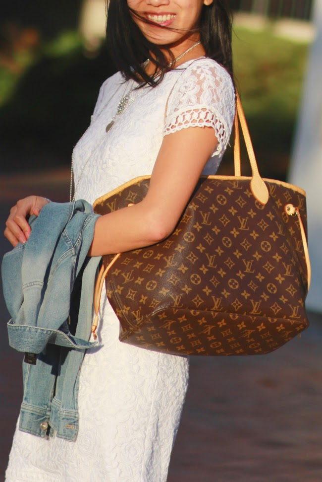 louis vuitton lv neverfull mm bag tote handbag