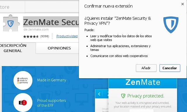 La extensión ZenMate Security & Privacy VPN